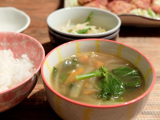 醤油味の野菜スープ